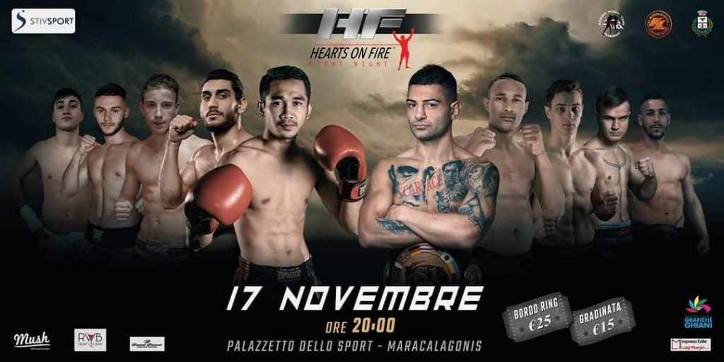 Torneo Hearts On Fire a Maracalagonis Muay Thai 17 Novembre 2018